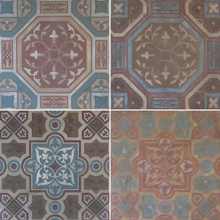 SkimStone And Stencil Tile Floor In Florence Paint Pattern