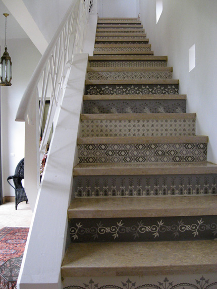 Beautiful Stenciled Stair Risers From Royal Design Studio