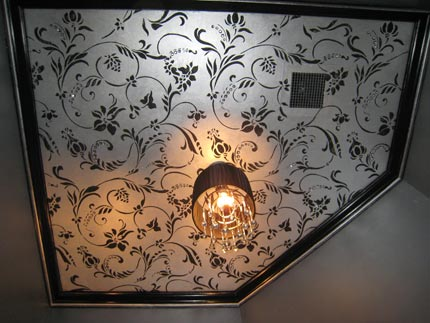 stenciled ceiling with allover pattern