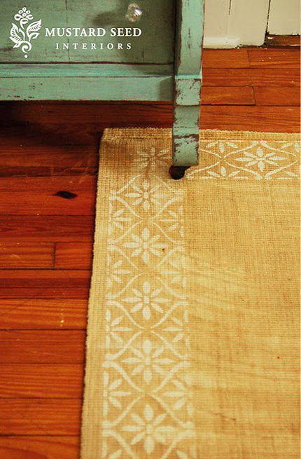 stenciling on a sisal rug by miss mustard seed