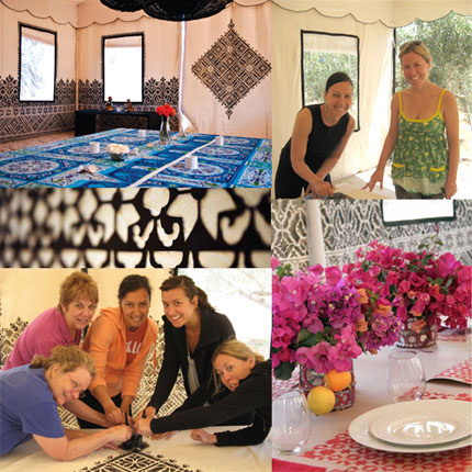 fabric stencils in moroccan tent