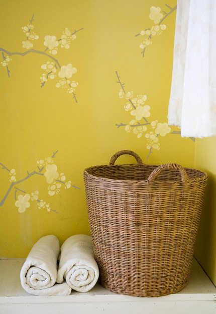 chinoiserie wall stencil cherry blossoms