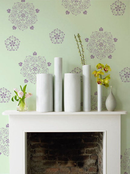 floral stencili as wall decor