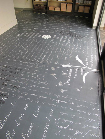 word stencils on a floor