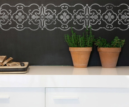 tile border wall on chalkboard finish