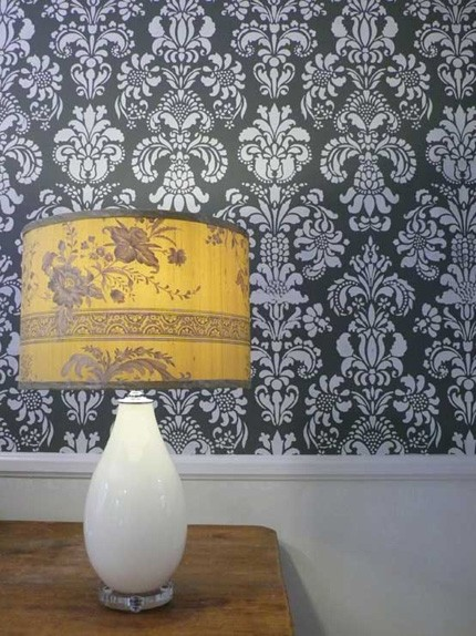 large floral damask wall stencil