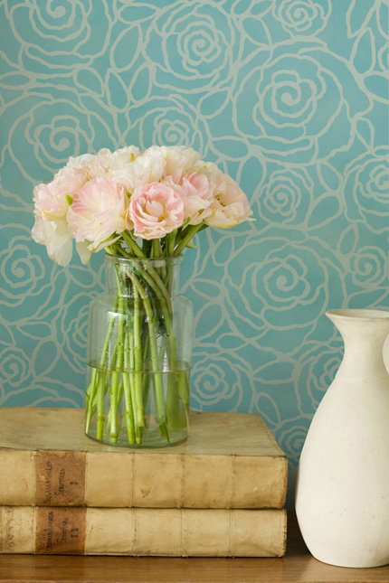 roses floral wall stencil