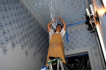 moroccan stencil on a ceiling