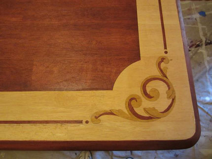 stencil on furniture with stain