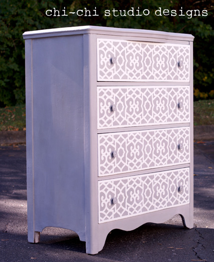 chalk paint furniture stencil
