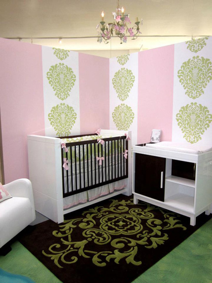 Wall stencil nursery design from Facebook