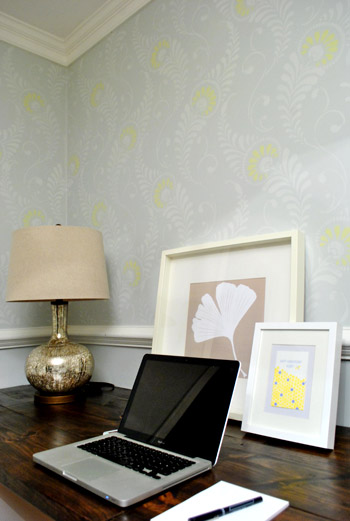 Stenciled Feature Wall via Young House Love    Stencils by Royal Design Studio