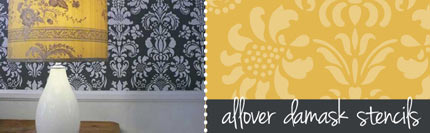 allover damask wall stencils