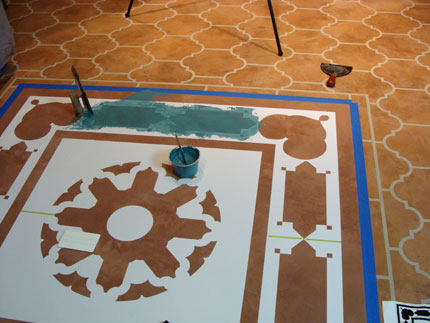 stencil on floor with Modello pattern