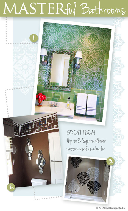 Using wall stencils to stencil stylish bathrooms