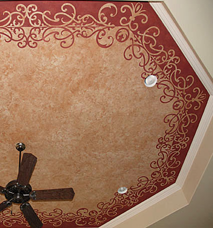 Ceiling stenciling with Modello stencil