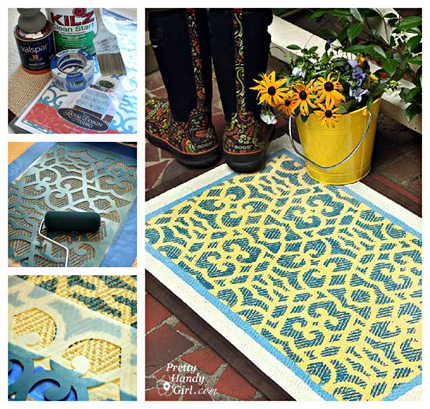 stenciling on a floor mat