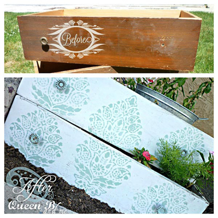 stencils on furniture to create planter boxes