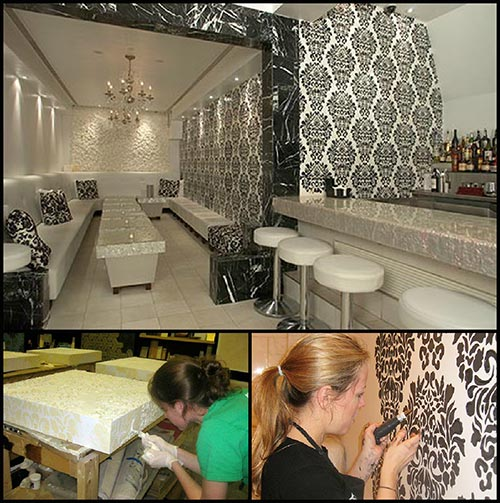 Embossing Fabric Damask Wall And Furniture Stencil Collage