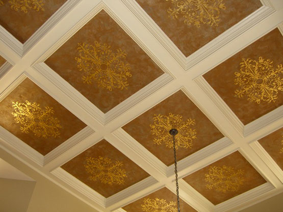 Stencil star lauren gaines 39 wall stencils paint pattern for Coffered ceiling paint ideas