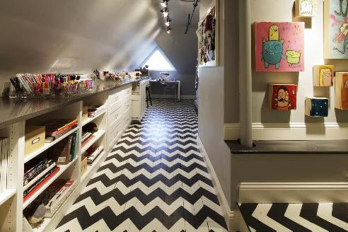 Chevron Stencil Pattern on Floor | Royal Design Studio Stencils | Project by Crista Maree