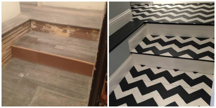 Chevron Pattern Stenciled on Staircase Flooring | Royal Design Studio Stencil | Artist: Crista Maree
