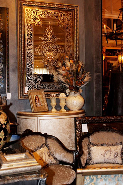 Stenciled and Gilded Antique Mirror with Pattern