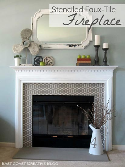 Beehive_Allove_Furniture_Stencil_on_Fireplace