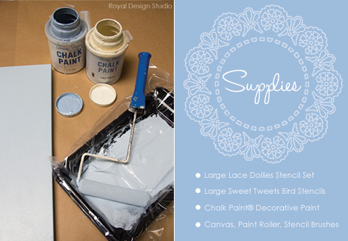 Canvas Art with Lace Stencils
