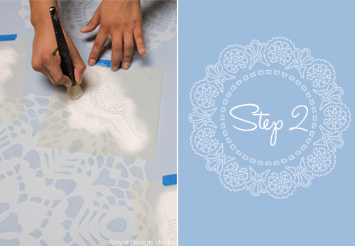 How to stencil canvas art with lace doilies