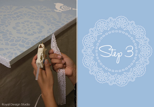 DIY canvas wall art with lace doily stencils