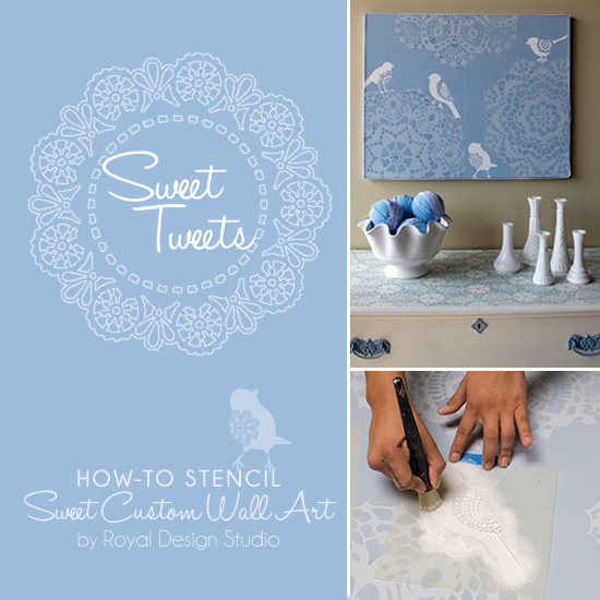 How to stencil wall art with lace stencils