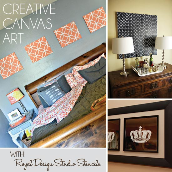 A Gallery Show of Beautiful Stenciled Canvas Art with Royal Design Studio Stencils