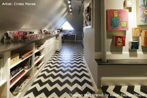 Stenciled Floor | Chevron Wall Stencil by Royal Design Studio