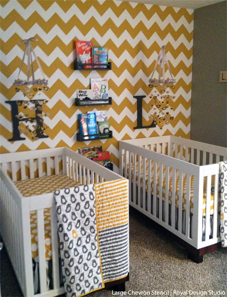 Stenciled Nursery | Chevron Wall Stencil by Royal Design Studio