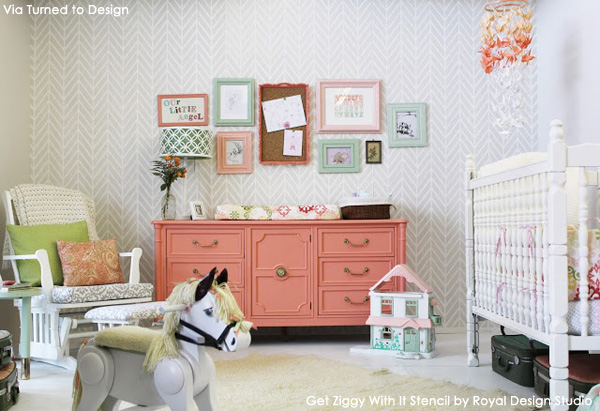Stenciled Nursery | Get Ziggy With It Wall Stencil by Royal Design Studio