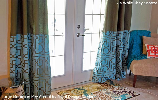Curtains-Stenciled-with-Morrocan-Key-Stencil