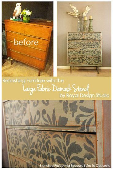 Fabric-Damask-Stenciled-on-Dresser