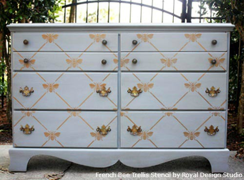 French-Bee-Trellis-Stencil-on-Dresser-Drawer