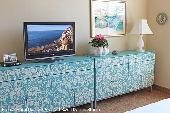 French-Floral-Damask-Stencil-on-Credenza_1
