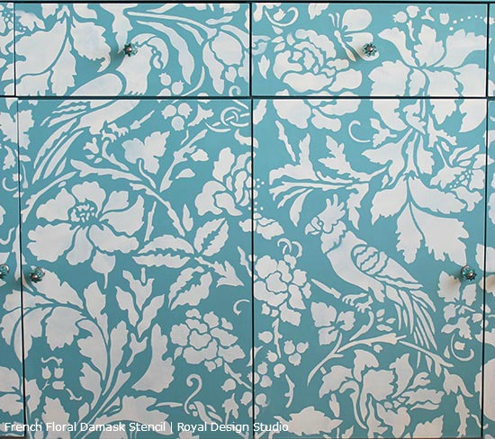 French-Floral-Damask-Stenciled-Credenza-Closeup_1