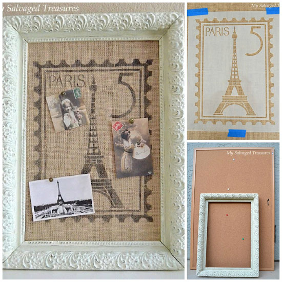 French Stencil Bulletin Board | Paris Postage Stamp Stencil by Royal Design Studio