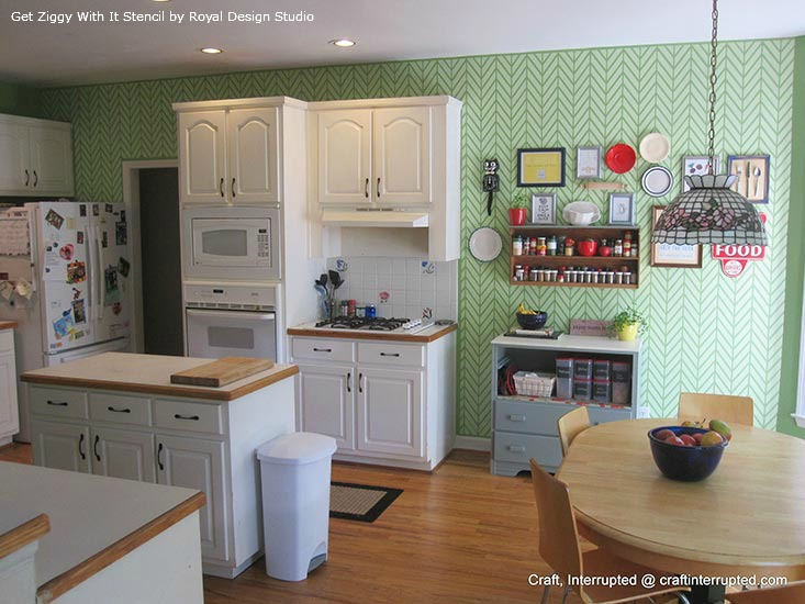 Stenciled Kitchen Feature Wall | Get Ziggy With it Stencil by Royal Design Studio