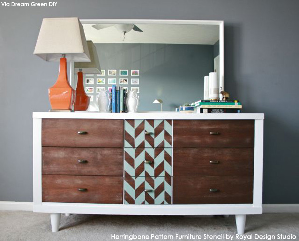 Stenciled Dresser | Herringbone Pattern Furniture Stencil by Royal Design Studio