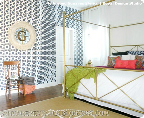 Stenciled Feature Wall Designs Paint Pattern