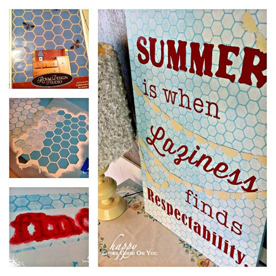 How to stencil a summer sign via Happy Looks Good | Beehive Allover Furniture Stencil by Royal Design Studio