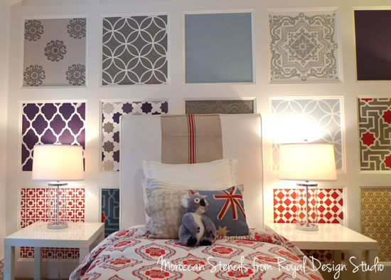Moroccan Stenciled Feature Wall | Moroccan Stencil Collection by Royal Design Studio