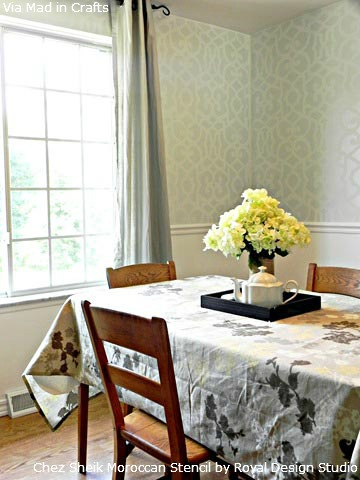 Stenciled-Allover-Pattern-on-Dining-Room-Walls