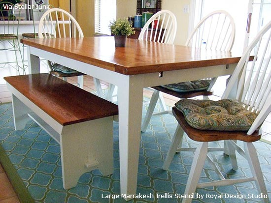 Stenciled-Table-Rug