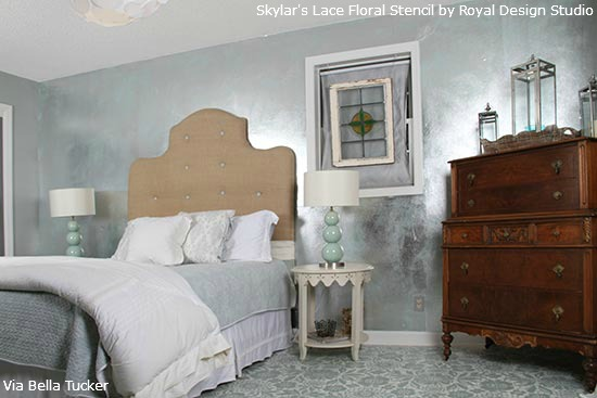 Stenciled Concrete Floor | Lace Stencil by Royal Design Studio